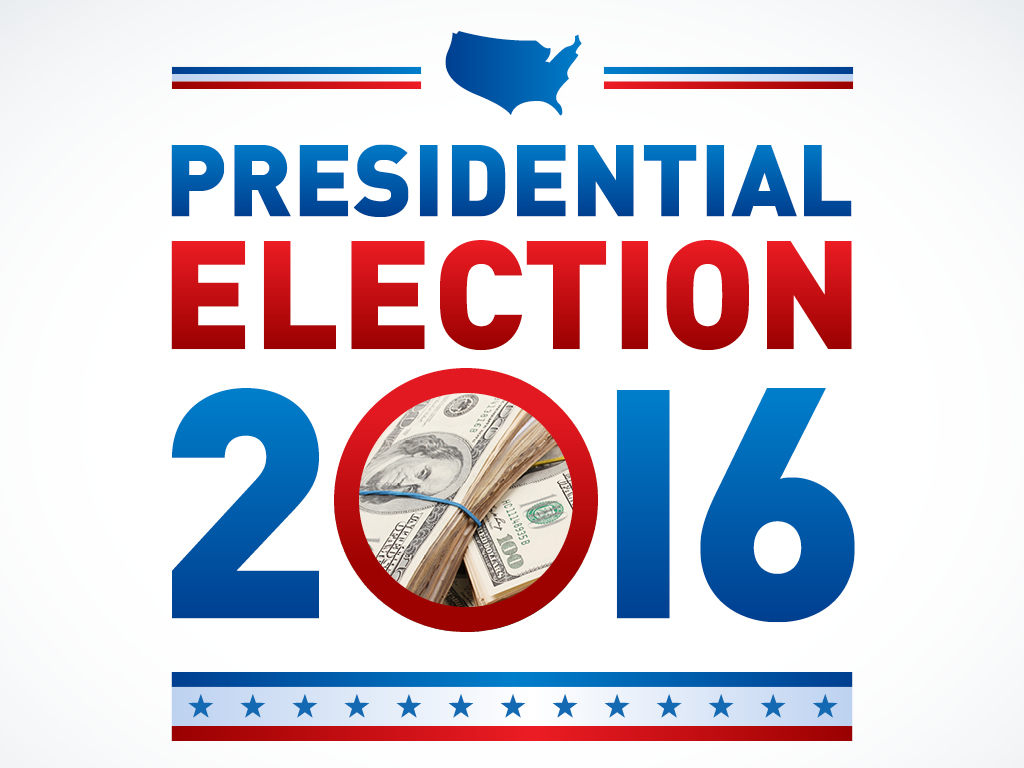 illustrated graphic of the 2016 Presidential election with a photo of stacks of money in the center of the zero in 2016