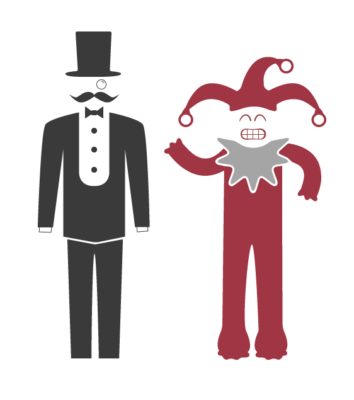 illustration of gentlemen being compared to jester