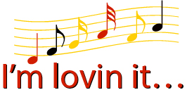 "clip art of musical tab with colorfully written music notes to the famous effective advertising jingle from McDonald's ""I'm lovin it"""