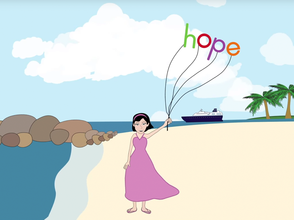 winning web design animation ad featuring woman on beach holding balloons